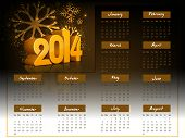 2014 year calendar with shiny text on fireworks background.