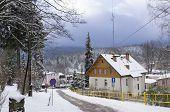 Winter view of Szklarska Poreba, mountain town in Karkonosze, Poland