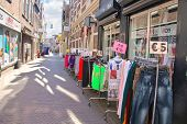 Selling Clothes On The Street In Dordrecht, Netherlands