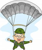 Illustration of a Male Paratrooper with His Arms and Legs Spread Wide Apart