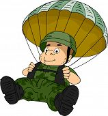 Illustration of a Male Paratrooper Maneuvering a Parachute