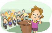 Illustration of a Girl with a Worried Look on Her Face Sweating Profusely While Standing Behind the Podium