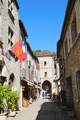 Rue de la Couronnerie and view of Porte Salmon in Rocamadour, France