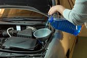 pouring liquids for windscreen washer