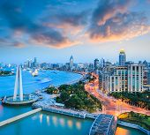 Beautiful Shanghai Bund With Sunset Glow