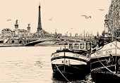 Vector illustration of a view of seine river in Paris with barges and Eiffel tower