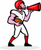 American Football Quarterback Bullhorn Isolated Cartoon