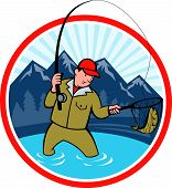 Fly Fisherman Catching Trout Fish Cartoon