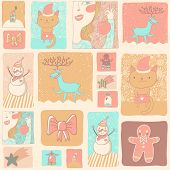 Bright Christmas and New Year set in cartoon style. Gentle holiday cards in pink colors with: cat, d