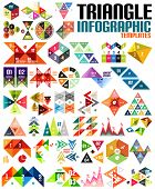 Geometric shape infographic template set - triangles, squares, abstract shapes. For banners, busines