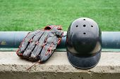 Baseball Gloves And Helmet