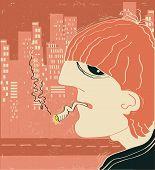 Smoking Man In Big City.vector