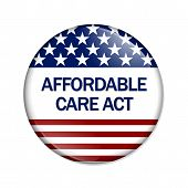 stock photo of mandates  - A white button with words Affordable Care Act isolated on white Affordable Care Act Button - JPG