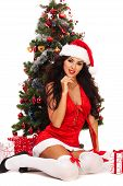 Beautiful Santa Helper - Next To Christmas Tree