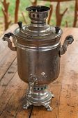Samovar - Traditional Russian Utensil, On The Wooden Table