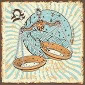 Libra Zodiac Sign.vintage Horoscope Card