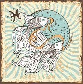 pic of zodiac sign  - Pisces zodiac signs of Horoscope circle with constellation on shabby vintage background - JPG