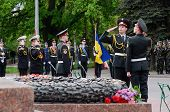 Guard of honour standing near Eternal Flame during ceremonial parade at Alley of Glory,Odessa,Ukrai