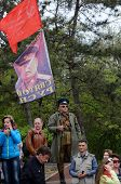 People with Joseph Stalin portrait celebrate Victory Day,Odessa,Ukraine