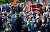 Veterans of Second World War coming to lay flowers at Uknown Sailor Monument,Odessa,Ukraine
