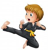 image of taekwondo  - Illustration of a young boy showing his karate moves on a white background - JPG