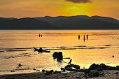 Anonymous People Frolicking Sea Sunset