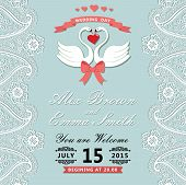 Vintage Wedding Invitation With Paisley Border,cartoon Swans