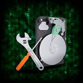 HDD with magnifying glass and adjustable wrench