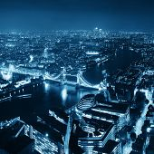 pic of london night  - London aerial view panorama at night with urban architectures and tower bridge - JPG