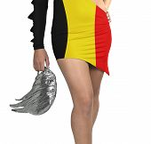 Futuristic Young Woman With Flag From Belgium On Her Dress