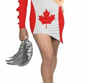 Futuristic Young Woman With Flag From Canada On Her Dress