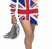 Futuristic Young Woman With Flag From England On Her Dress