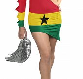 Futuristic Young Woman With Flag From Ghana On Her Dress
