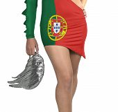 Futuristic Young Woman With Flag From Portugal On Her Dress