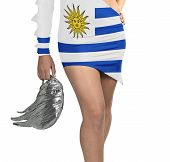 Futuristic Young Woman With Flag From Uruguay On Her Dress
