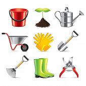 Gardening Tools Icons Vector Set