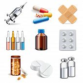 Medical Drugs Icons Vector Set