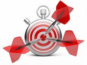 Marketing Strategy Concept. Dart Hitting The Center Of A Target With Stopwatch.