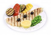 picture of pangasius  - Grilled pangasius fillet on plate - JPG
