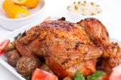 picture of roast chicken  - whole golden roasted chicken with roasted potatoes - JPG