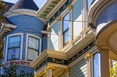San Francisco Victorian houses near Alamo Square in California USA