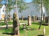 Stone sculpture park. Polovtsian steppe, Ukraine.