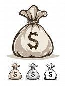 Full sack with money dollars. Eps8 vector illustration. Isolated on white background