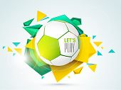 Shiny soccer ball with stylish text let's play on colourful grungy background.