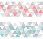 Colorful tile vector background or pattern illustration. Grey, pink and mint green pastel triangle