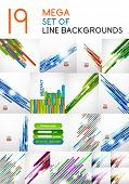 Vector straight line backgrounds design collection.