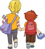 Illustration of a Big Sister Walking Home with Her Little Brother