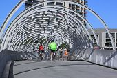 Cyclists Webb bridge Melbourne