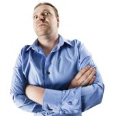 stock photo of stubborn  - An image of an angry man starring down at you - JPG