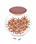 Jar Of Dried Star Anise On White Background